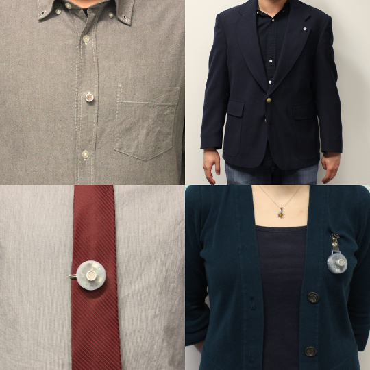 Various configurations of people wearing Opo tags